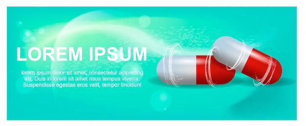 Banner illustratie advertentie pijnstiller pils