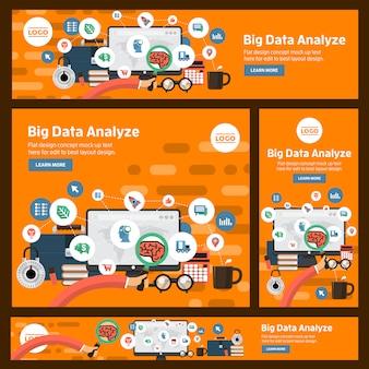 Banner instellen vector digitale zaken