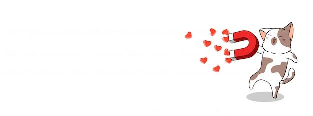 Banner kat draagt magneet voor harten