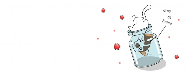 Banner kawaii kat ontsnapt aan virus