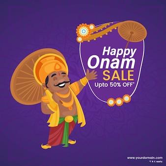 Banner king mahabali houdt een paraplu in de hand op het onam-festival
