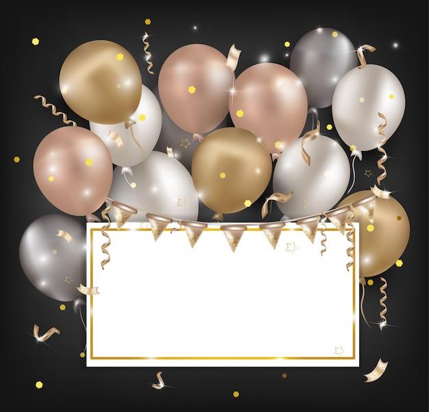 Banner luchtballonnen voor feest, verkoop, vakantie, verjaardag.