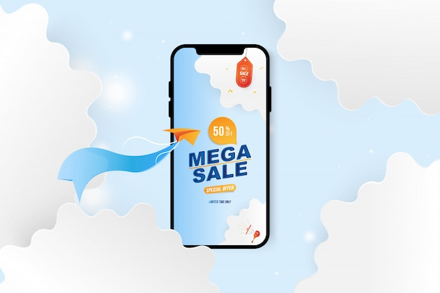 Banner mega sale in smartphone. speciale aanbieding 50% met vliegtuig en wolken uit papier gesneden.