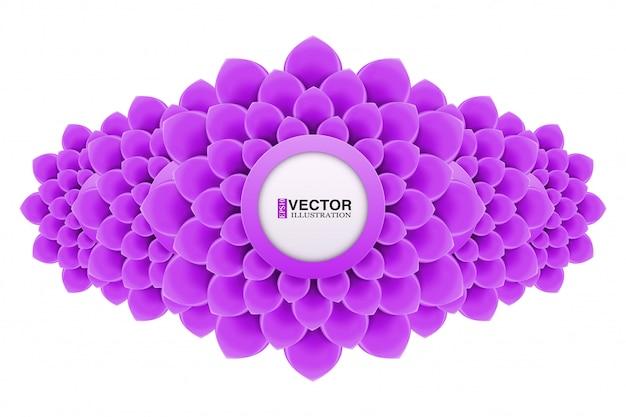 Banner met bloemen in plat design