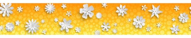Banner met bloementextuur in oranje kleuren en grote witte papieren bloemen met zachte schaduwen. met naadloze horizontale herhaling