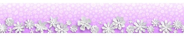 Banner met bloementextuur in paarse kleuren en grote witte papieren bloemen met zachte schaduwen. met naadloze horizontale herhaling