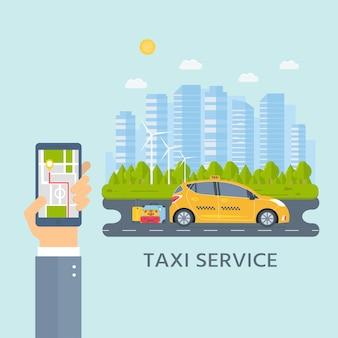 Banner met de machine gele cabine in de stad. hand met telefoon met mobiele app voor taxiservice. stadsgezicht op de achtergrond. platte vectorillustratie.