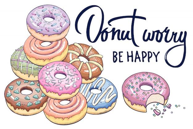 Banner met donuts en inscriptie.
