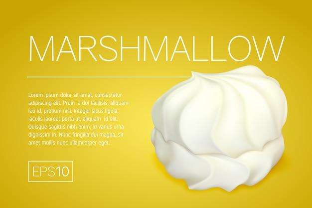 Banner met een realistische afbeelding van marshmallows op een gele achtergrond