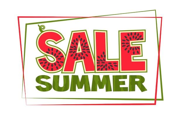 Banner met een watermeloen inscriptie zomerverkoop. flyer of kaart voor winkels.