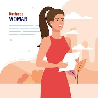 Banner met elegante uitvoerende zakenvrouw buiten