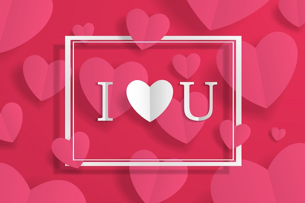 Banner met frame en ik hou van je ondertekenen, papier ambacht origami hart en belettering op achtergrond. voor reclame, cadeau, wenskaart, flyers, behang