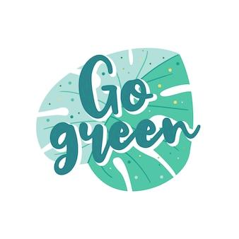 Banner met gaan groen schrijven. cartoon illustratie