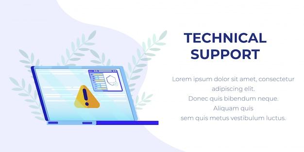 Banner met gebroken laptop technische ondersteuning bieden