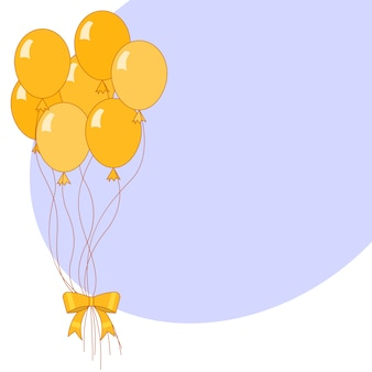 Banner met gele vakantie lucht ballonnen en blauwe copyspace.