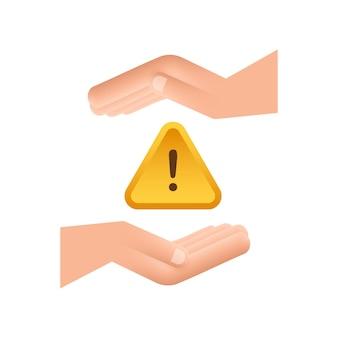 Banner met gele zwendelwaarschuwing over handen aandachtsteken cyberbeveiligingspictogram