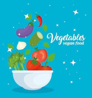 Banner met groenten, concept veganistisch eten in kom