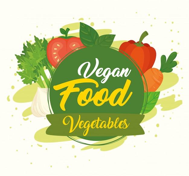 Banner met groenten, concept veganistisch eten met verse en gezonde groenten