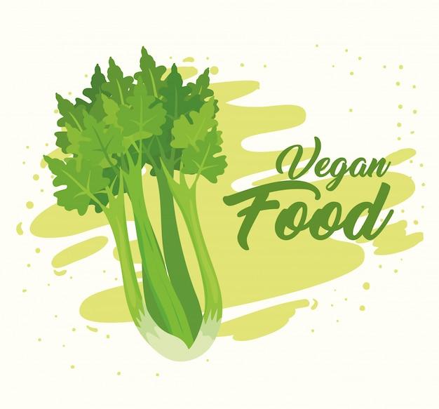 Banner met groenten, concept veganistisch eten, met verse selderij
