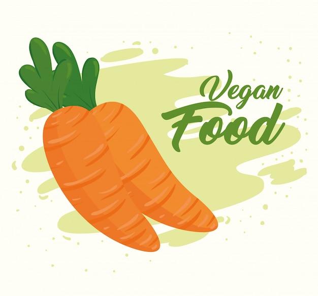 Banner met groenten, concept veganistisch eten, met verse wortelen