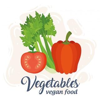 Banner met groenten, concept veganistisch eten, selderij met tomaat en peper