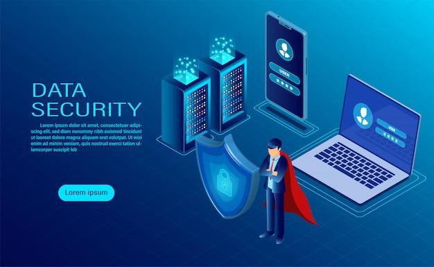 Banner met held beschermt gegevens en vertrouwelijkheid op computer en mobiel
