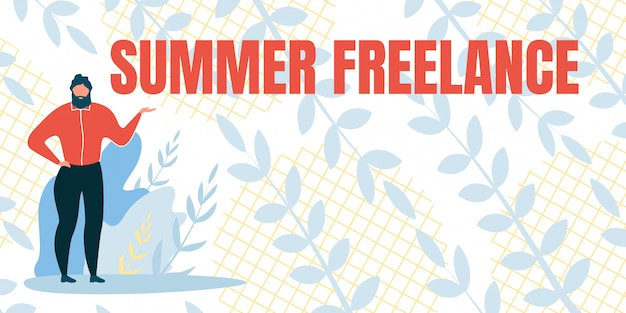 Banner met inscriptie freelance zomer
