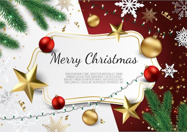 Banner met kerstboomtakken, gouden sterren, kerstballen en ruimte voor tekst,