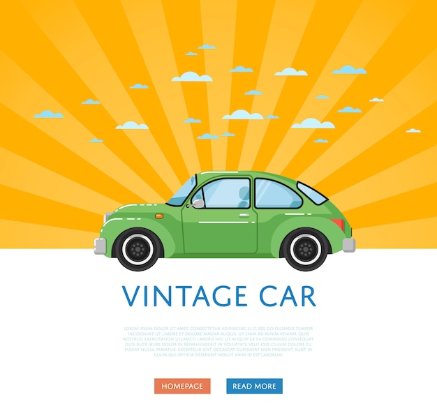 Banner met klassieke retro auto