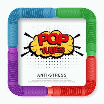 Banner met kleurrijke anti-stress zintuiglijke pop buis plastic speelgoed
