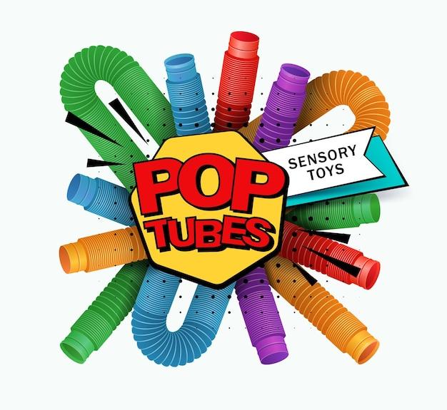 Banner met kleurrijke anti-stress zintuiglijke pop tube plastic speelgoed