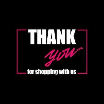 Banner met letters bedankt voor het winkelen bij ons