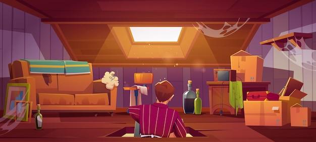 Banner met man zit op zolder met oude dingen en meubels