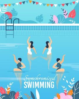 Banner met mee gesynchroniseerde zwemprestaties