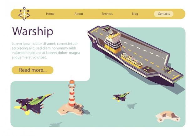 Banner met oorlogsschip en landende militaire vliegtuigen