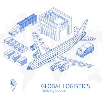 Banner met pictogrammen voor wereldwijde logistiek