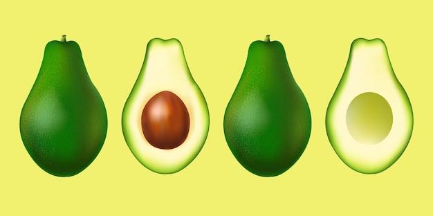 Banner met realistische avocado set met verloopnet