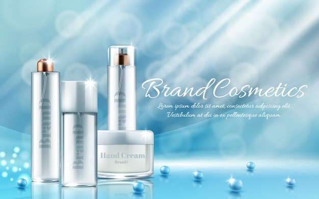 Banner met realistische set flessen en potten voor gezichtsmasker, handcrème, bodylotion