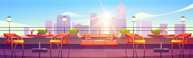 Banner met restaurant op het dak met uitzicht op de stad