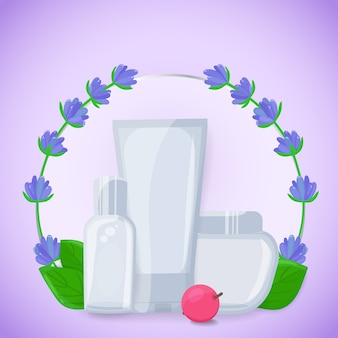 Banner met schoonheid cosmetische containers met lavendel bloemen, bladeren en bessen. cosmetische biologische producten