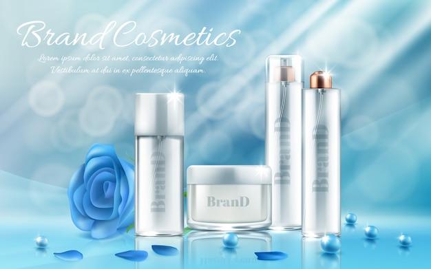 Banner met set flessen en potten voor gezichtsmasker, handcrème, bodylotion, haarlak
