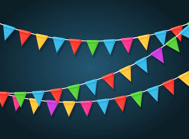 Banner met slinger van kleurenfestivalvlaggen en linten, bunting. achtergrond voor het vieren van happy birthday party, carnaval, fair.