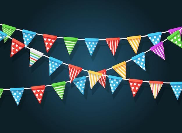 Banner met slinger van kleurenfestivalvlaggen en linten, bunting