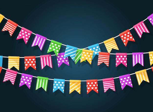 Banner met slinger van kleurenfestivalvlaggen en linten, gors. achtergrond voor het vieren van happy birthday party, carnaval, fair. plat ontwerp