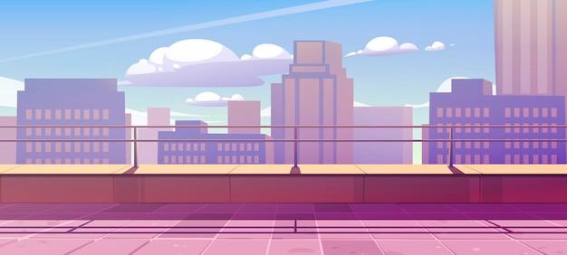 Banner met terras op het dak met uitzicht op de stad