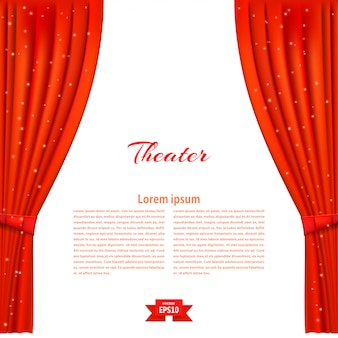 Banner met toneelstadium en rood theatergordijn.