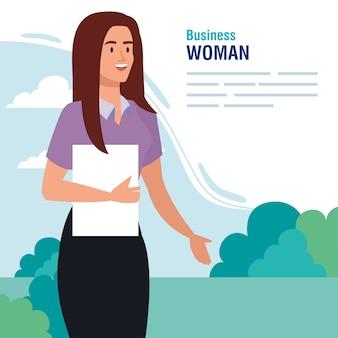 Banner met uitvoerend zakenvrouw buiten afbeelding ontwerp