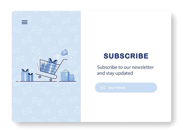 Banner met winkelwagentje en tassen als abonnement op nieuwsbrief, aanbiedingen en acties
