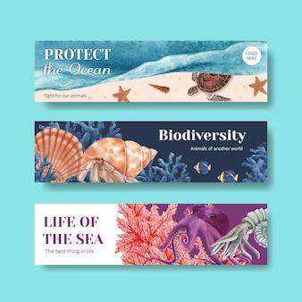 Banner met zee leven conceptontwerp aquarel illustratie
