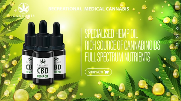 Banner met zwarte cbd-olie flessen en cannabisbladeren